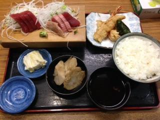 天ぷら定食+おまかせ刺身